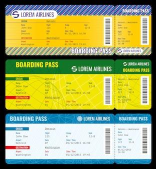 La carta d'imbarco della compagnia aerea emette un mockup di biglietti moderni