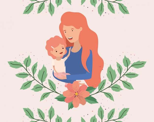 La carta del giorno di madri con la madre e il figlio frondeggia corona