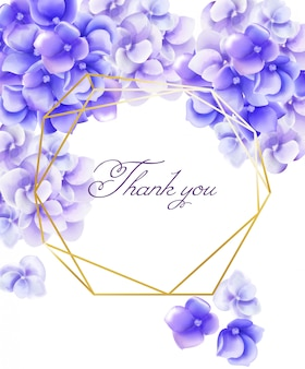 La carta dell'invito di nozze vi ringrazia con i fiori viola vibranti dell'acquerello