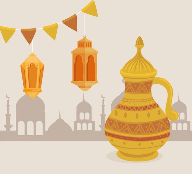 La carta della celebrazione di eid al adha con il barattolo dorato stabilito e le lampade che appendono l'illustrazione progettano