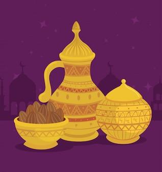 La carta della celebrazione di eid al adha con l'illustrazione dorata stabilita dell'illustrazione dell'alimento e del barattolo