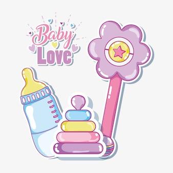La carta di amore del bambino con i giocattoli vector l'illustrazione progettazione grafica