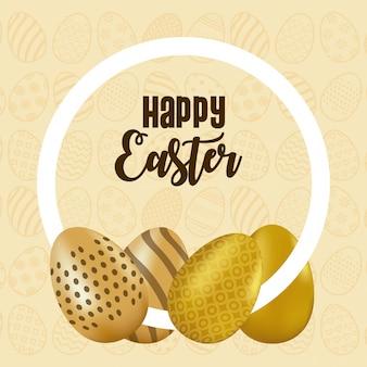 La carta di pasqua felice con iscrizione e le uova hanno dipinto l'illustrazione circolare di vettore della struttura