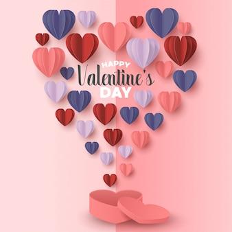 La carta felice del giorno di biglietti di s. valentino ha tagliato lo stile con forma variopinta del cuore nel fondo rosa