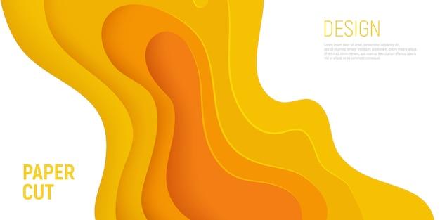 La carta gialla ha tagliato l'insegna con il fondo dell'estratto della melma 3d e gli strati gialli delle onde.