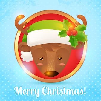 La cartolina d'auguri di buon natale con i cervi si dirige l'illustrazione di vettore del ritratto