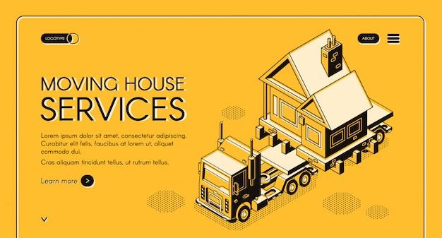 La casa commovente funziona la bandiera isometrica di web di servizio online