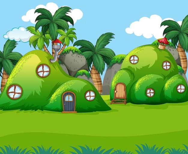 La casa della collina verde della natura