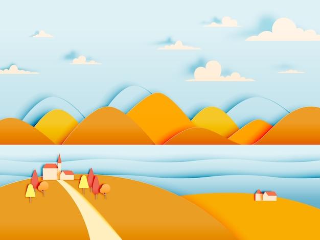 La casa e la montagna con bello paesaggio nell'illustrazione di vettore del fondo di autunno