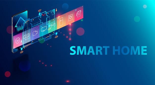 La casa intelligente è controllata da uno smartphone hom, sistema domotico della tecnologia iot,