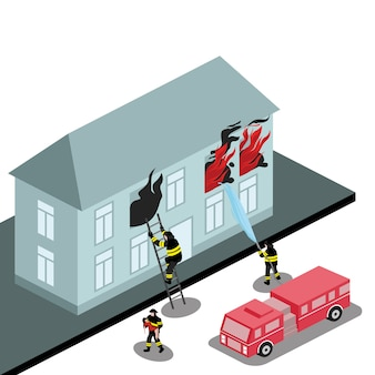 La caserma dei pompieri spegne un edificio a fiamma