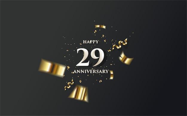 La celebrazione del 29 ° con numeri bianchi e pezzi di carta d'oro.