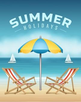 La chaise longue dell'estate e l'ombrello sulla spiaggia vector l'illustrazione.
