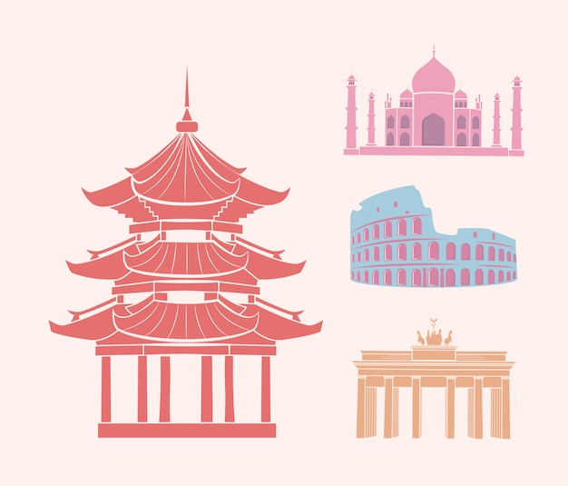 La cina e l'italia germania e india icons set vector
