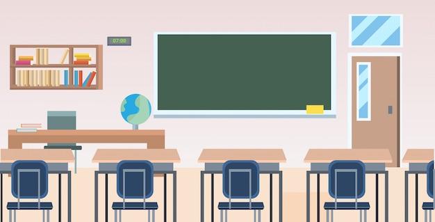 La classe della scuola con la scrivania del bordo della mobilia non svuota orizzontale orizzontale interno dell'aula della gente