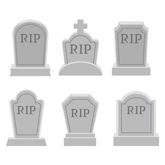 La collezione di grave o lapide in stile piatto vettoriale. risorsa grafica su grave per grafica, halloween