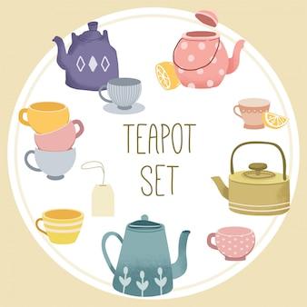 La collezione di set di teiere.