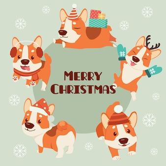 La collezione di simpatici cani corgi indossa un set di temi in costume natalizio