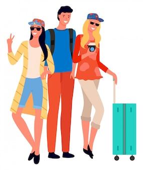 La compagnia degli amici che va in vacanza insieme vector