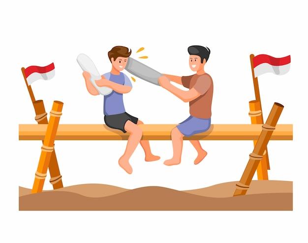 La competizione di gioco tradizionale di lotta con i cuscini celebra per il concetto di festa dell'indipendenza indonesiana nel vettore di illustrtion del fumetto