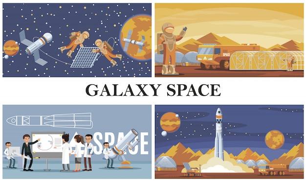 La composizione di esplorazione dello spazio piatto con gli astronauti risolve gli scienziati della colonizzazione di marte satellitari e il lancio di un razzo