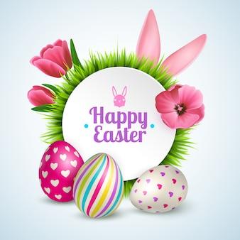 La composizione felice in pasqua con le orecchie di coniglio variopinte delle uova di simboli tradizionali e la molla fiorisce realistico