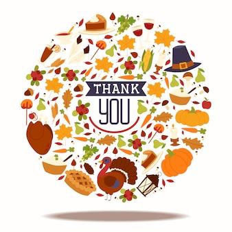 La composizione in festa di ringraziamento con il tacchino tradizionale e la torta della frutta, la zucca, le mele del caramello e la raccolta del fungo vector l'illustrazione.