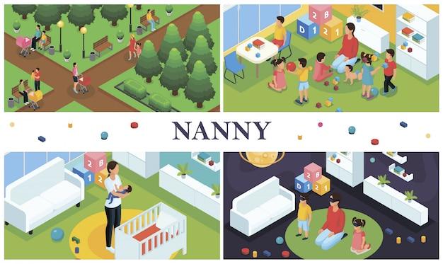 La composizione isometrica del lavoro della tata con i genitori che camminano con la tata dei bambini che gioca con i bambini a casa e la babysitter mette il bambino a dormire