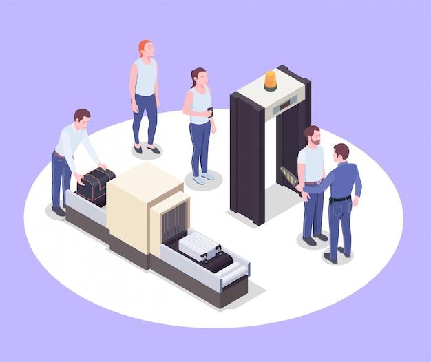 La composizione isometrica dell'aeroporto con le immagini dei dispositivi umani dei dispositivi dello scanner dei passeggeri e dei loro effetti personali vector l'illustrazione