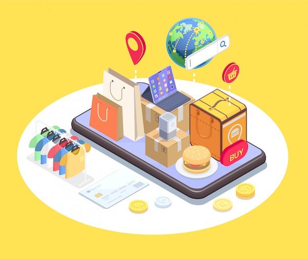 La composizione isometrica in commercio elettronico di acquisto con l'immagine concettuale del telefono e gli oggetti sopra lo schermo attivabile al tatto vector l'illustrazione