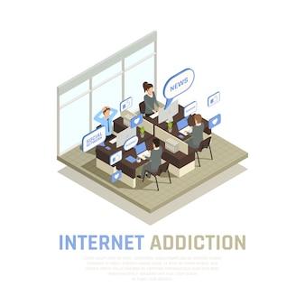 La composizione isometrica in dipendenza dell'aggeggio dello smartphone di internet con la vista della stanza dell'ufficio del cubicolo con la gente e le bolle di pensiero vector l'illustrazione