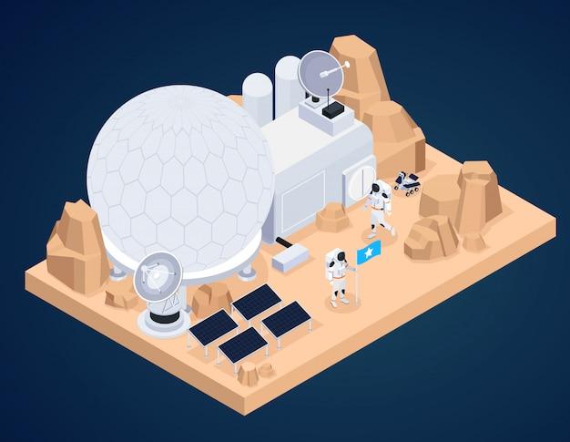La composizione isometrica nell'esplorazione spaziale con il pezzo di terreno extraterrestre e le costruzioni fatte dall'uomo con i caratteri dell'astronauta vector l'illustrazione