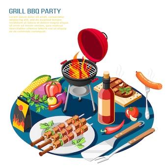 La composizione isometrica nell'illustrazione del partito del bbq della griglia con la descrizione editabile del testo e l'insieme da tavolo hanno messo con l'alimento del barbecue