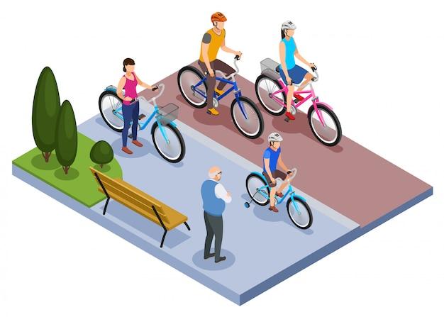 La composizione isometrica nella bicicletta e nella gente con la famiglia guida le biciclette nell'illustrazione di vettore del parco della città