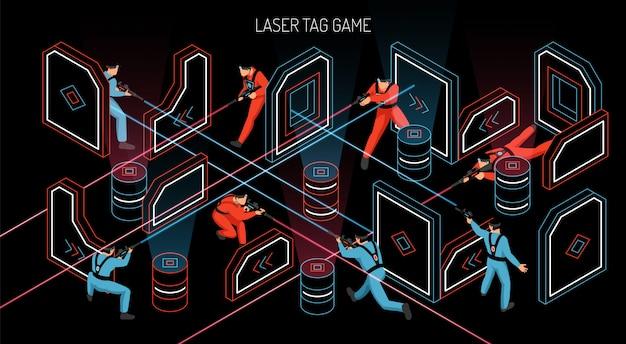 La composizione isometrica orizzontale nel gioco di gruppo all'aperto dell'interno dell'etichetta del laser con i giocatori che infornano gli obiettivi sensibili infrarossi vector l'illustrazione
