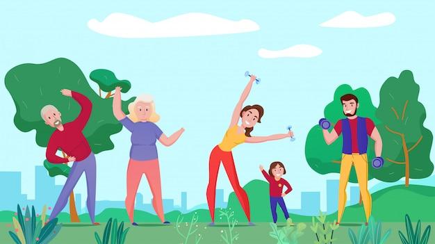 La composizione orizzontale piana in forma fisica di sport di salute della famiglia con i genitori dei nonni scherza l'esercitazione con l'illustrazione all'aperto dei bilancieri