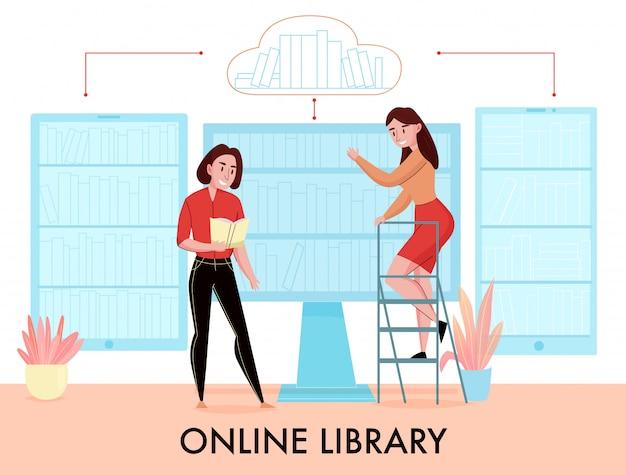 La composizione piana nella biblioteca online con le donne che cercano il libro negli scaffali per libri virtuali della compressa del telefono del monitor monitor vector l'illustrazione