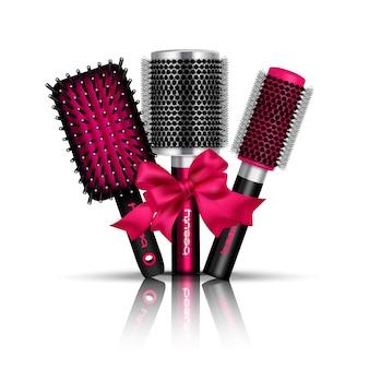 La composizione realistica della spazzola per capelli con tre hairbrushes per lo styling ha legato un'illustrazione rossa di vettore del nastro