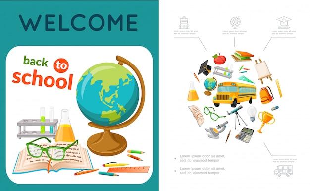La composizione variopinta di istruzione piana con le matite del righello di forbici dei tubi del globo del libro penela gli oggetti e gli accessori differenti della scuola