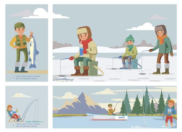 La composizione variopinta piana di hobby di pesca con i pescatori pesca il pesce di estate e di inverno