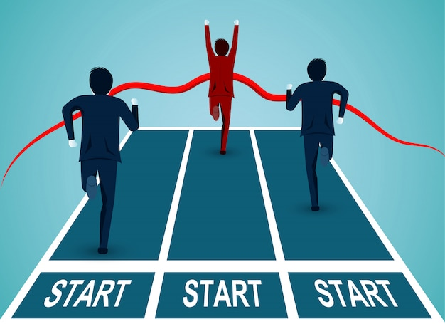 La concorrenza degli uomini d'affari arriva al traguardo verso il successo