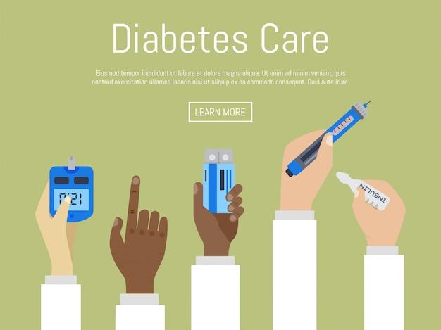 La consapevolezza della giornata mondiale del diabete con le mani dei medici contiene le misure del misuratore per il livello di zucchero nel sangue. mani di medici che tengono droga e gocce di sangue sul blu del cerchio