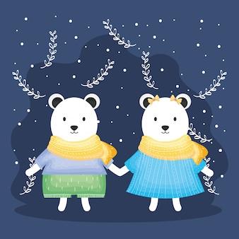 La coppia carina porta polare con i personaggi dei vestiti