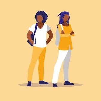 La coppia professionale maschile modella i personaggi neri