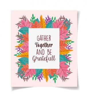 La cornice del poster del ringraziamento lascia la decorazione