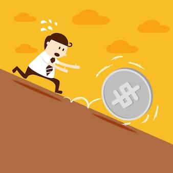La corsa dell'uomo di affari segue la moneta del dollaro