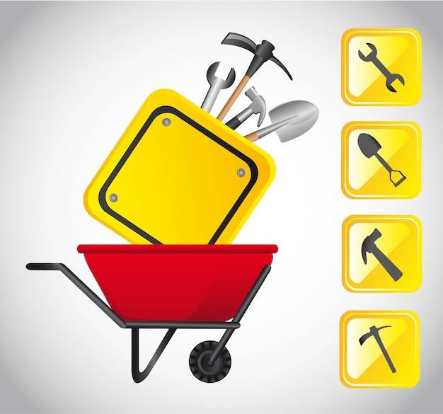 La costruzione degli strumenti con le icone vector l'illustrazione