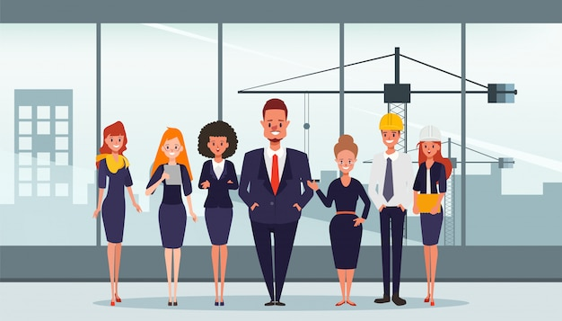 La costruzione di industria di lavoro di squadra della gente di busines.