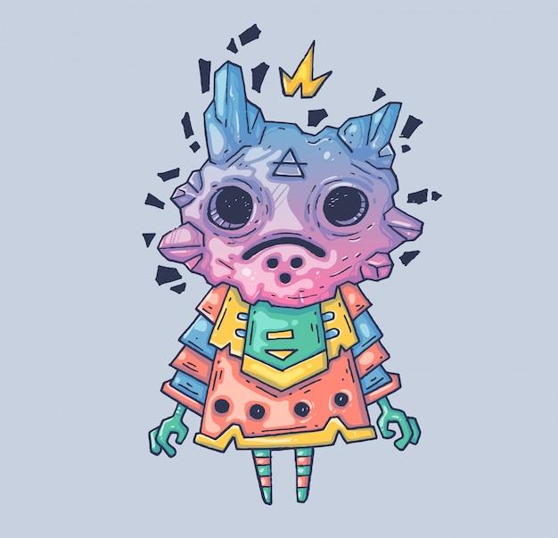 La creatura magica nella maschera. illustrazione di cartone animato personaggio in stile grafico moderno.