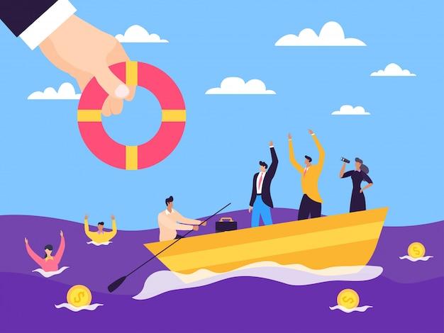 La crisi aiuta il sostegno alle imprese illustrazione. imprenditori di sponsorizzazione finanziaria in acqua di mare, assicurazione fallimentare.